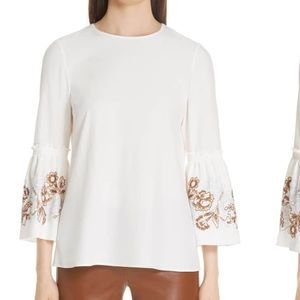 Lafayette 148 NWT $648 embroidered top sz L